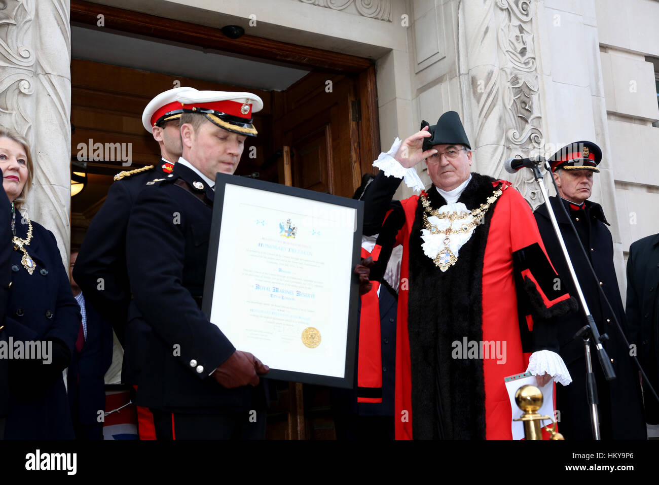 Lieutenant Colonel E Moorhouse RM certificate of the freedom of the borough of Wandsworth, Mayor of Wandsworth, - Stock Image