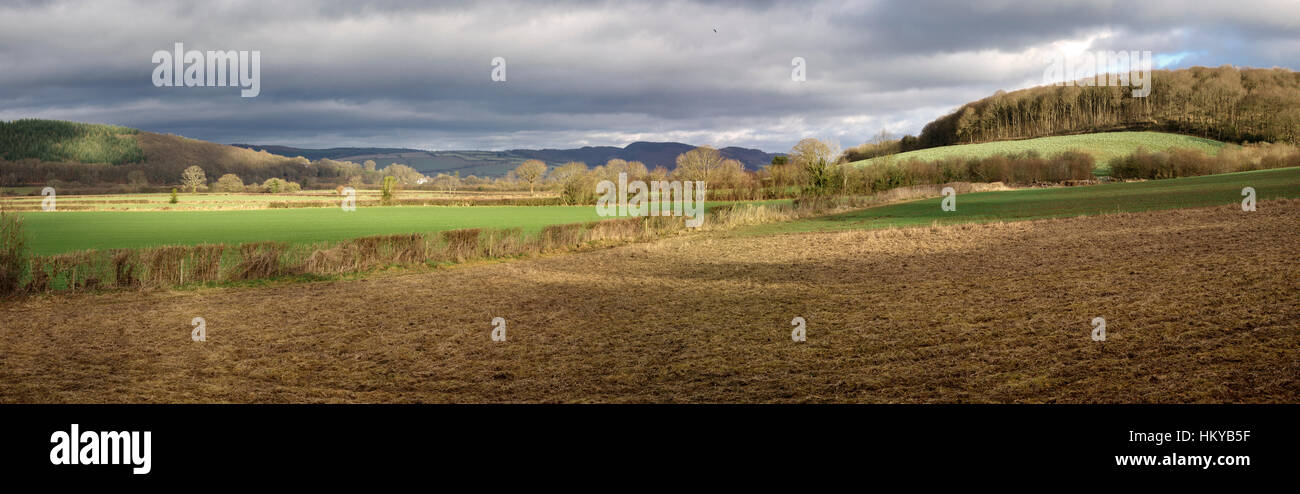 Winter landscape in the Welsh Borders near Presteigne, Powys, Wales, UK. - Stock Image
