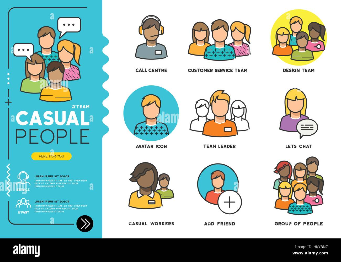 Casual People. Profiles of everyday men and women in various job roles in everyday clothes. Vector illustration - Stock Image