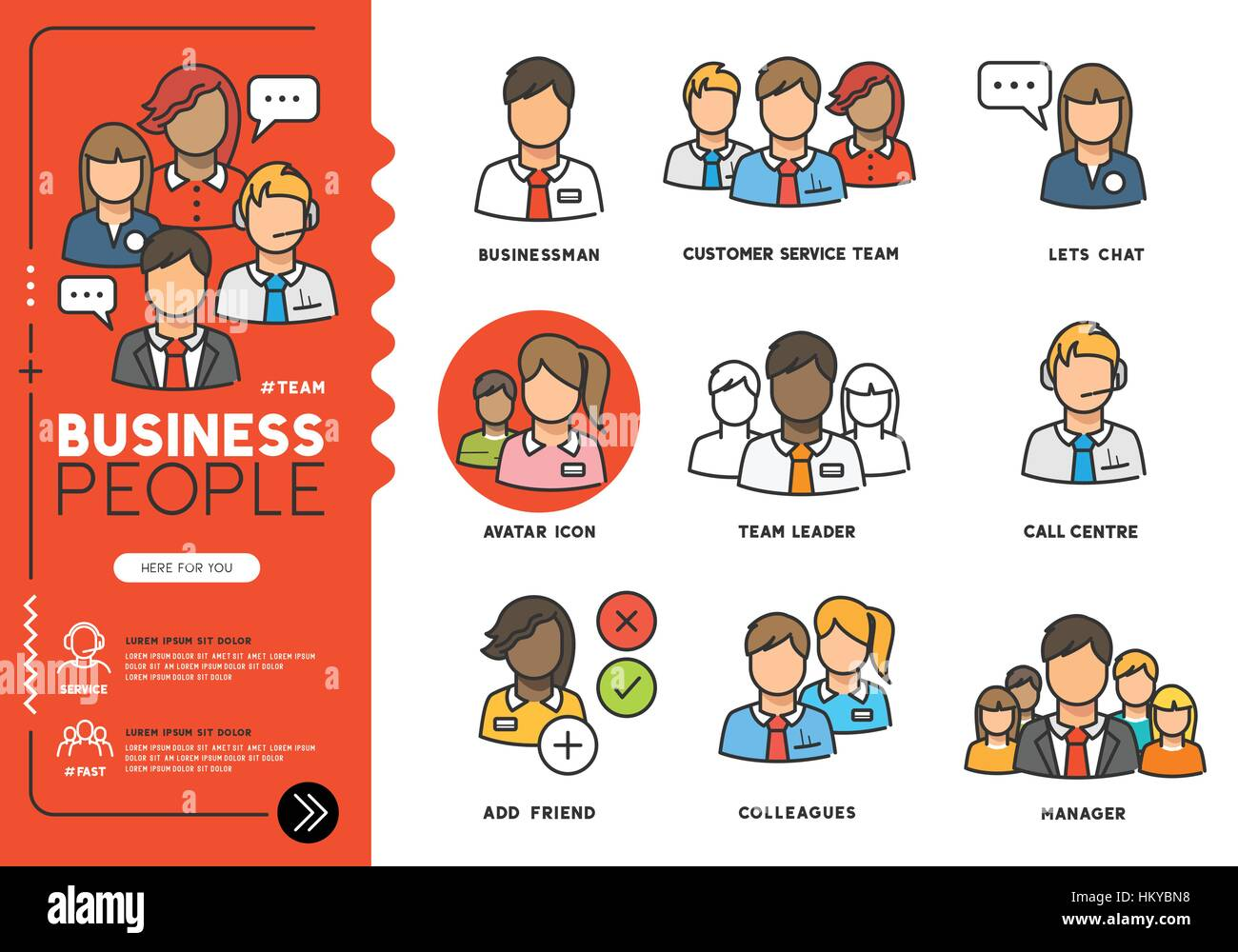Business people. Profiles of everyday professional men and women in various job roles in smart clothes. Vector illustration - Stock Vector