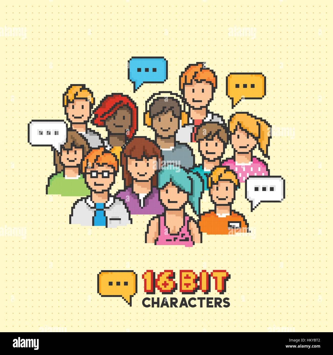 A group of young adult characters in 16-bit graphics. Vector illustration Stock Vector