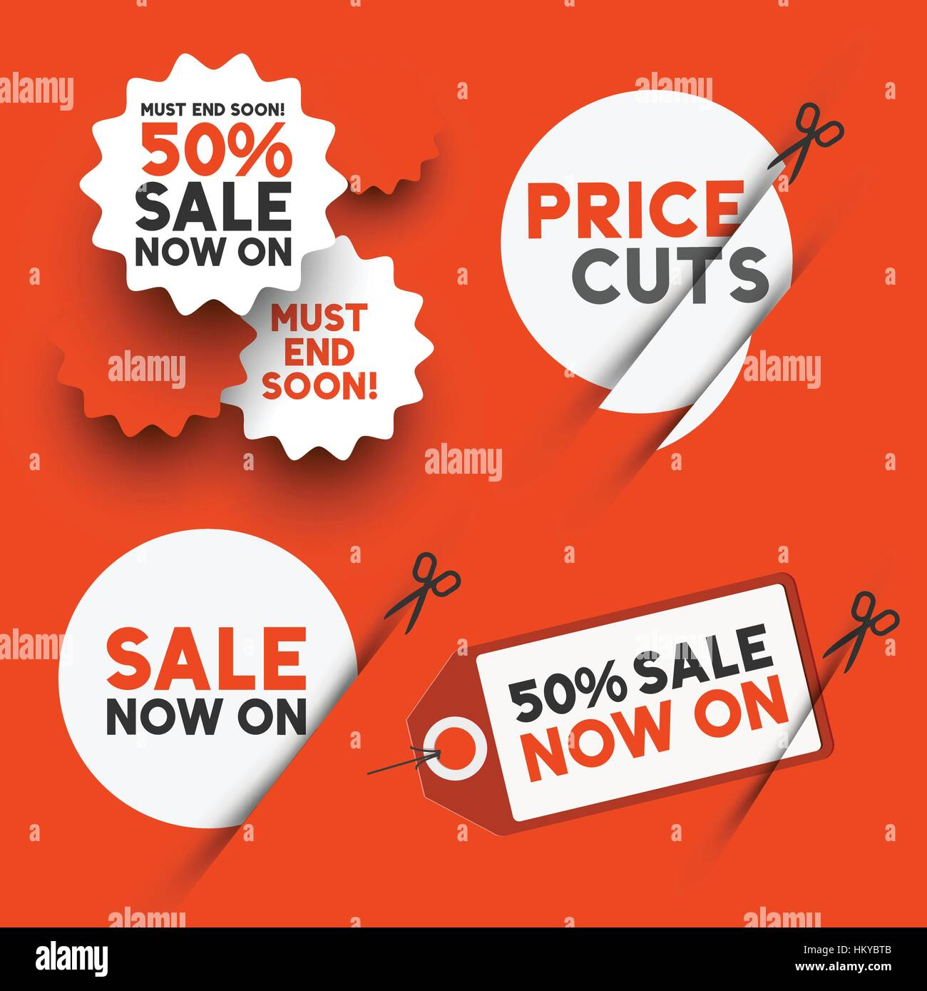 White sale signs and discount price cut symbols. Vector illustration - Stock Image