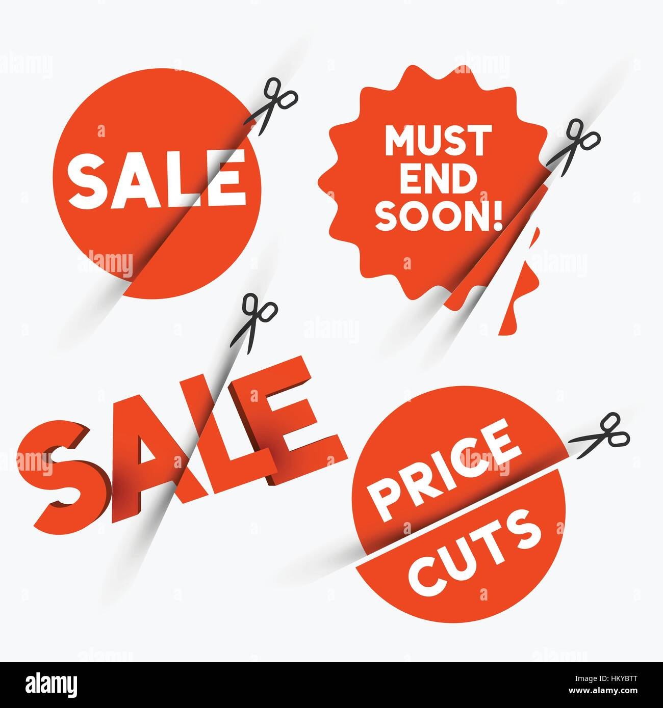 Red sale signs and discount price cut symbols. Vector illustration - Stock Image