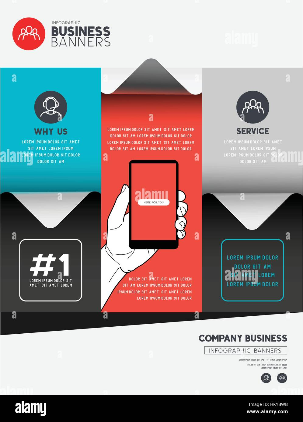 Business infographic elements with room for layout and text. Vector illustration - Stock Image