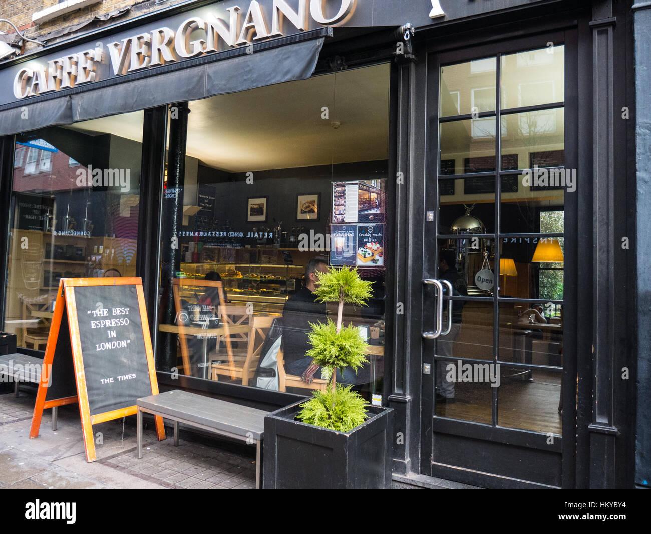 Cafee Vergnano 1882, Charring Cross rd London, England - Stock Image