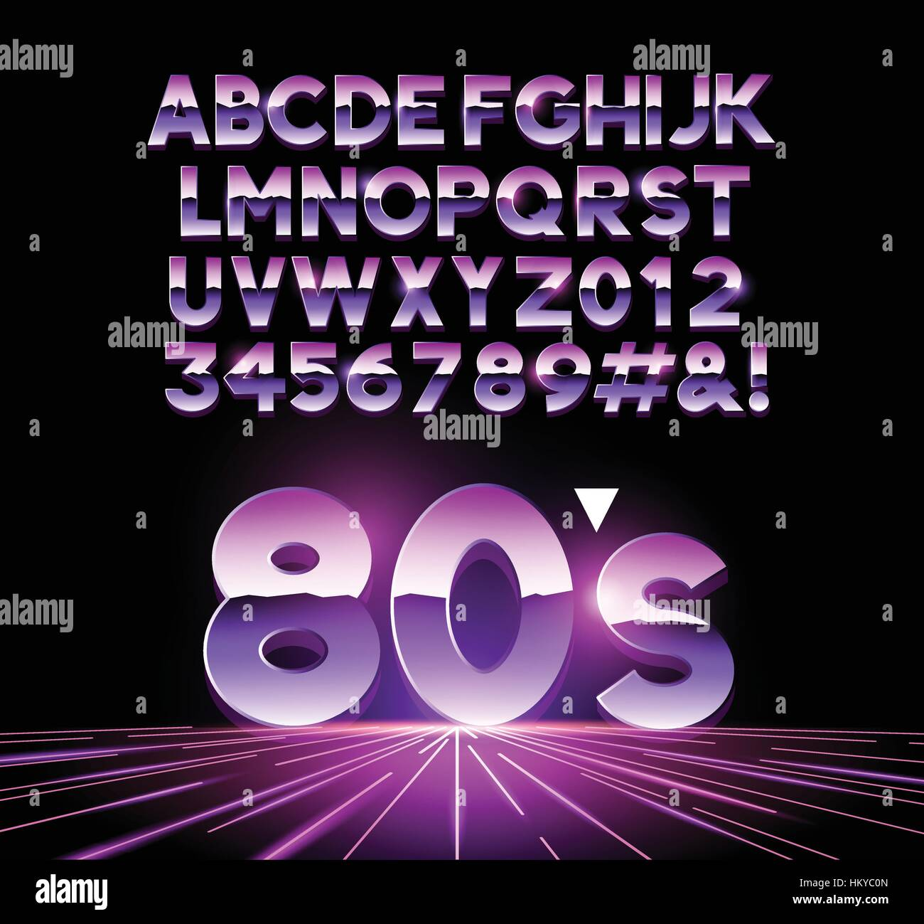 retro Airbushed style 1980's shiny Letters with a futuristic look from the decade. Vector illustration - Stock Image
