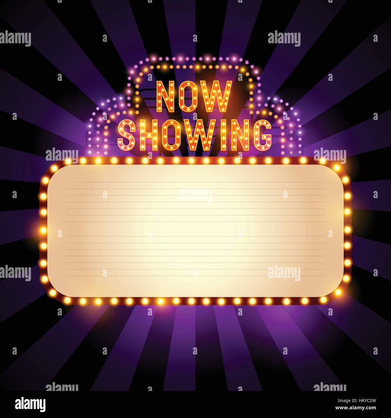 Retro Cinema Sign Banner With Lights Stock Photos & Retro