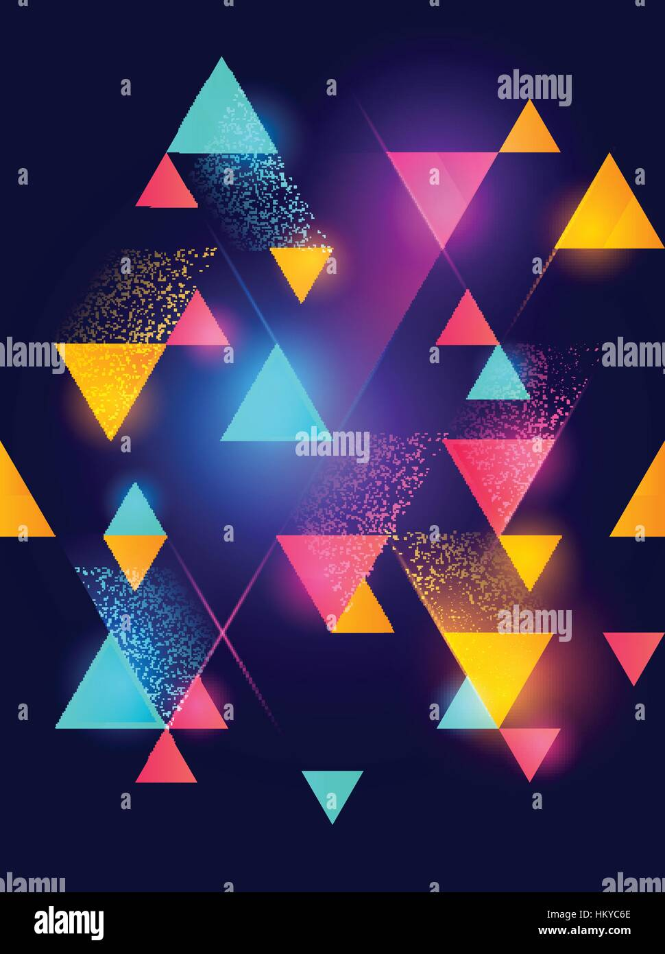 Glowing neon geometric pattern background. Vector illustration. - Stock Image