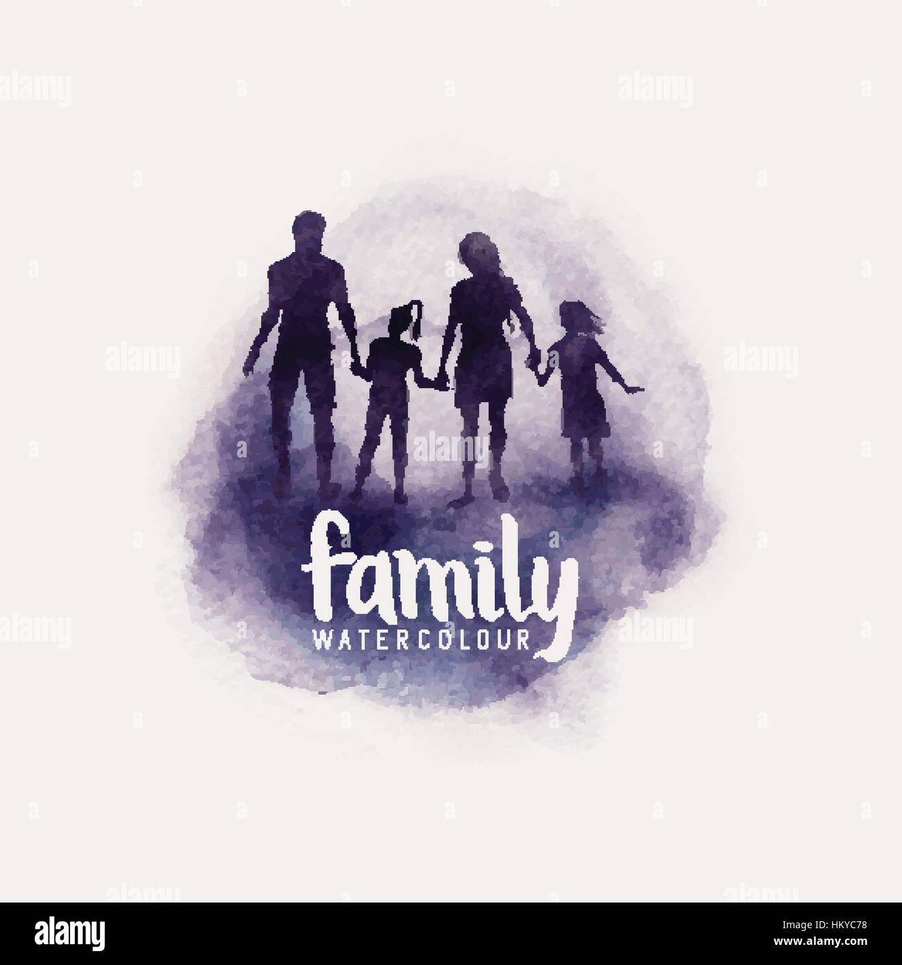 watercolour style family, Parents and children walking together. vector illustration - Stock Vector