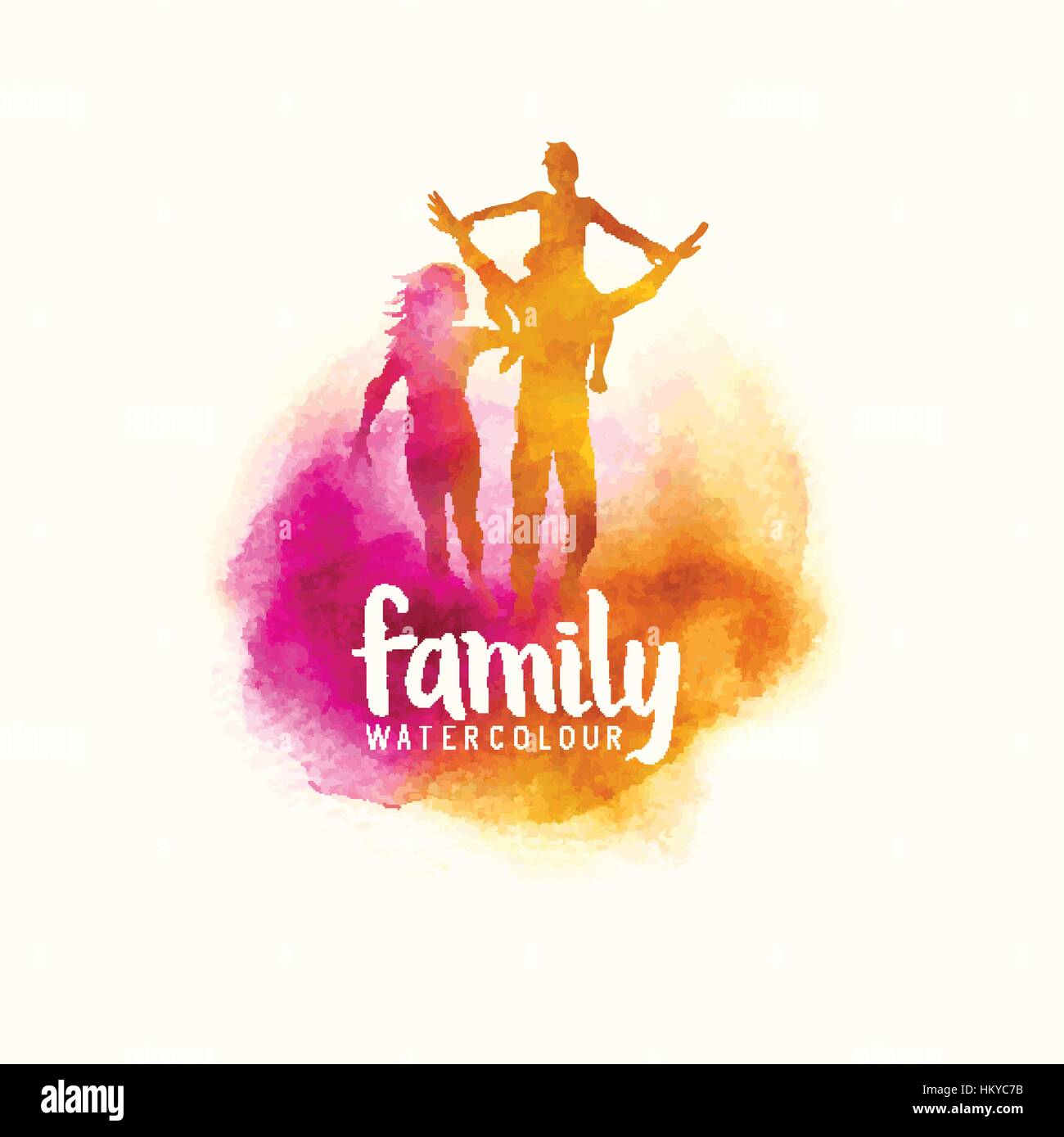watercolour style family, Parents having fun with their child. vector illustration - Stock Vector