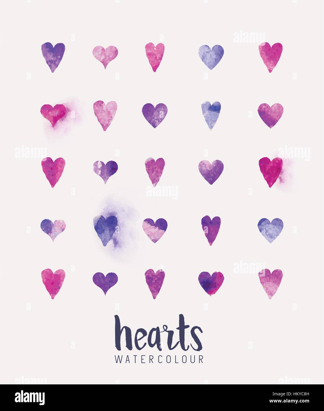 A collection of love hearts in watercolour. Vector illustration - Stock Image