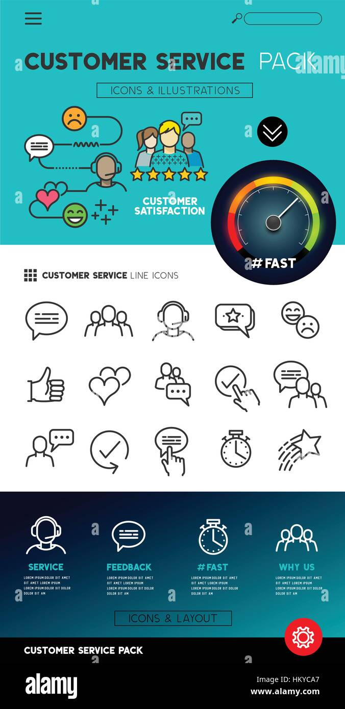 Customer service representatives - Flat feedback service icons with support teams. vector illustration. - Stock Image