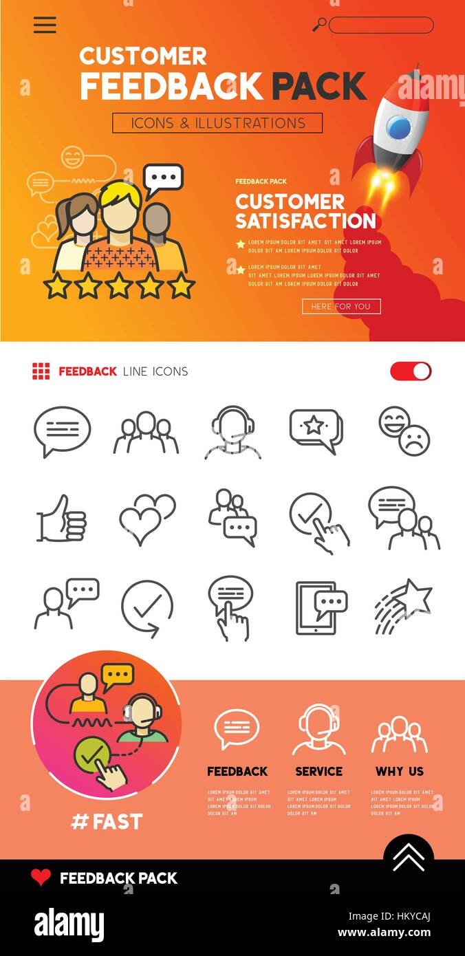 Customer feedback - Flat service icons with support teams. vector illustration. - Stock Image