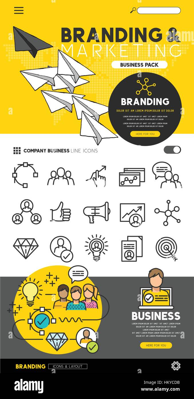 Business branding and marketing set with flat line icons and illustrations - vector collection. - Stock Image