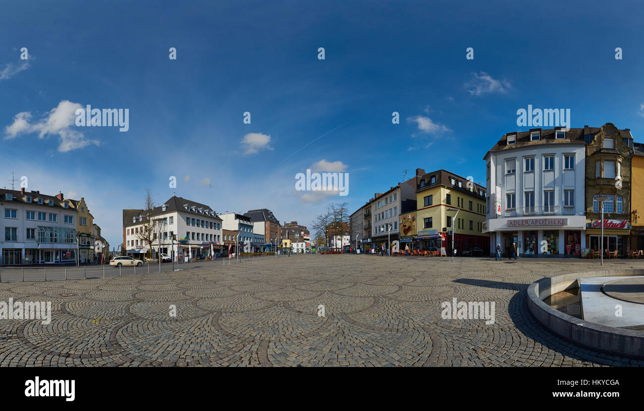 Moenchengladbach, Germany - March 09, 2016: Panorama view of Old Market in Moenchengladbach, a city on Northrine - Stock Image