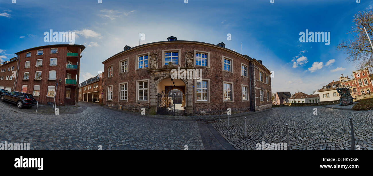 Moenchengladbach, Germany - March 09, 2016: Panorama view into Abteistrasse with old church administration buildings - Stock Image