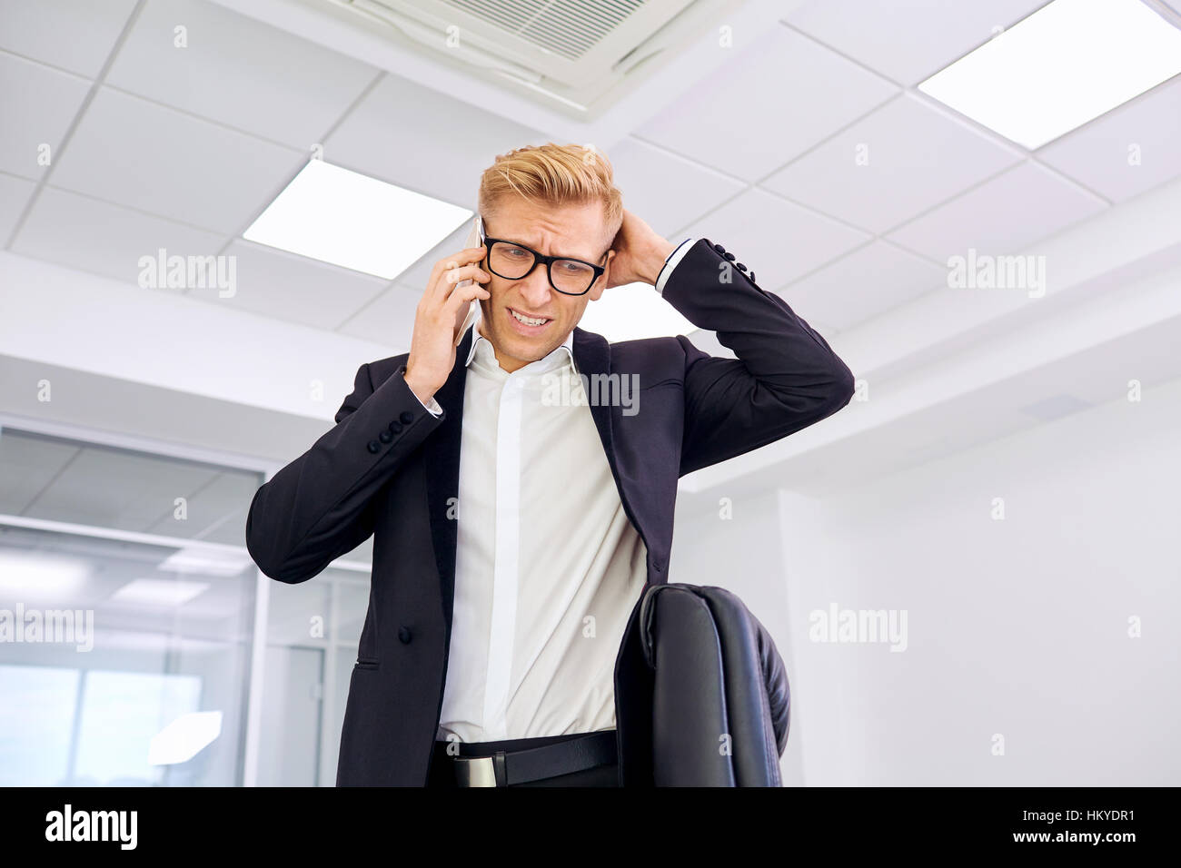 The concept stress business problems loser bankruptcy. Blond bus - Stock Image