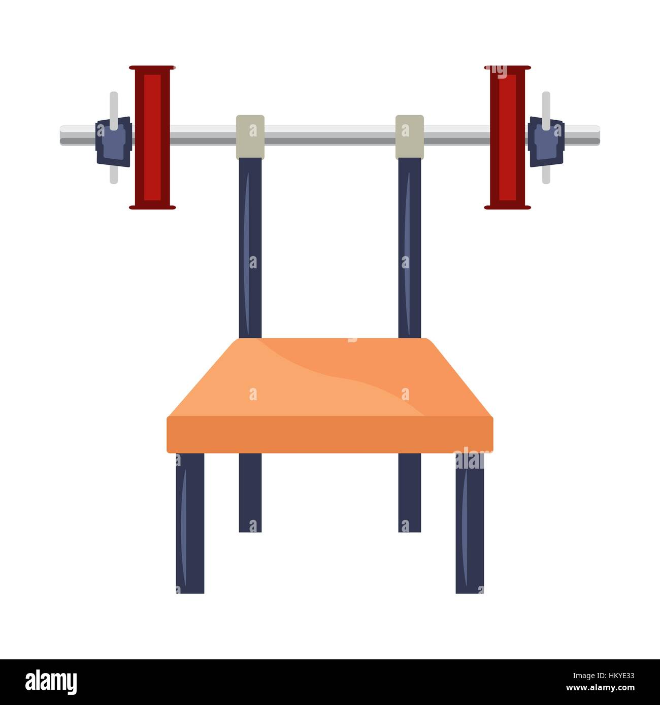 Cartoon bench press machine with weights. White background. - Stock Vector