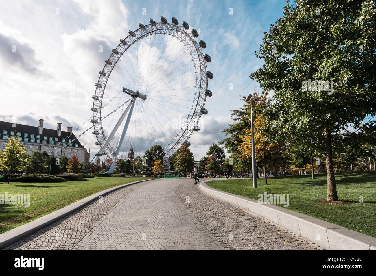 London, United Kingdom - October 18, 2016: London Eye ferris wheel in London, England Stock Photo