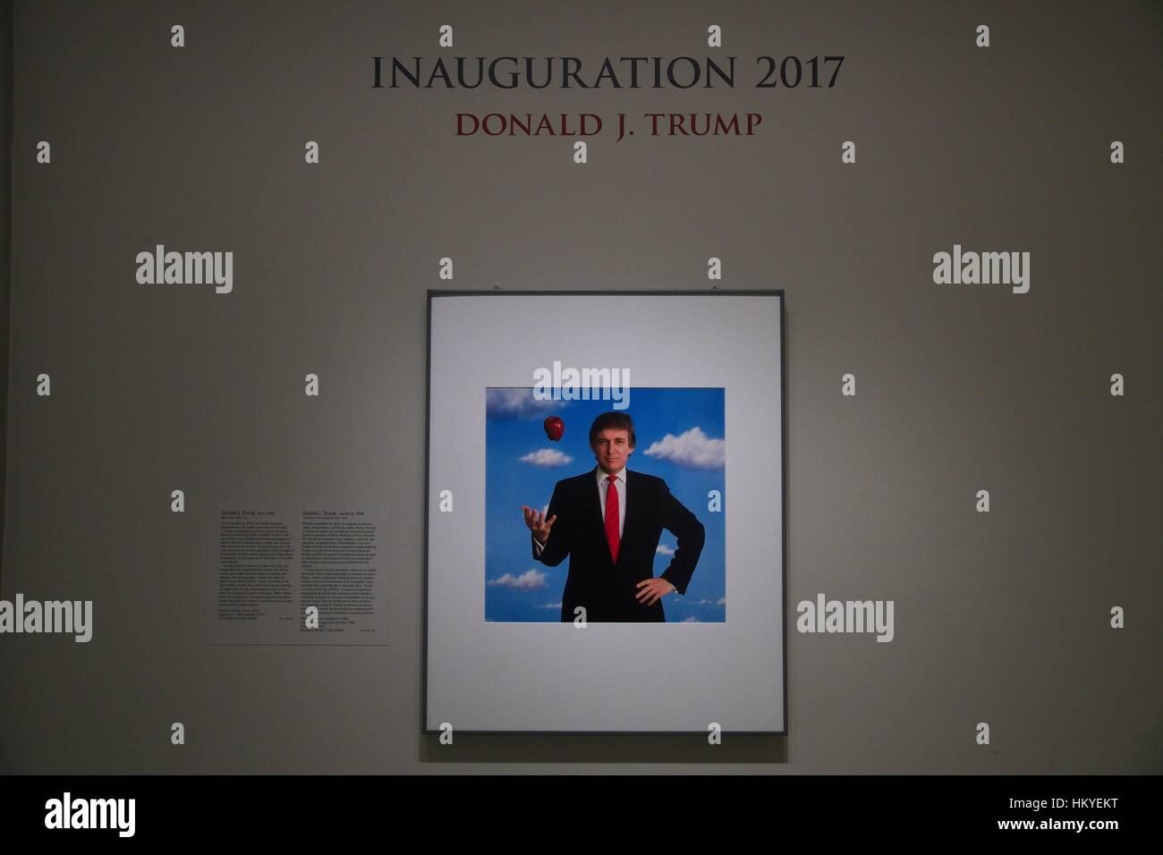 Photographic portrait of Donald Trump tossing a red apple by photographer Michael O'Brien on display for the - Stock Image