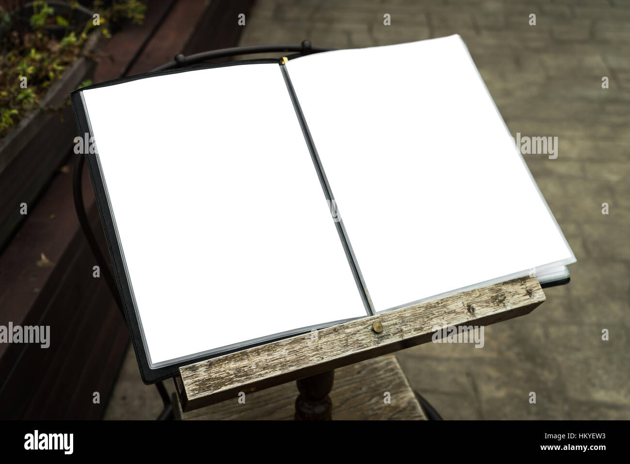 Menu frame in front of Restaurant - Stock Image