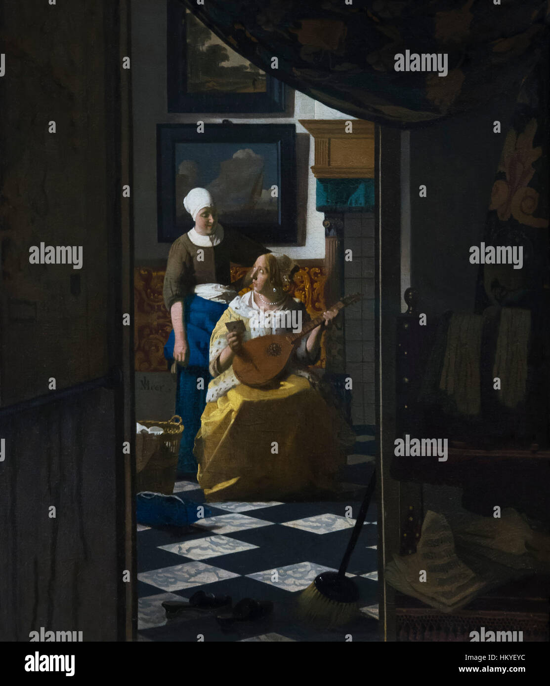 The Love Letter, by Johannes Vermeer, circa 1669-70, oil on canvas, Rijksmuseum, Amsterdam, Netherlands, Europe, - Stock Image