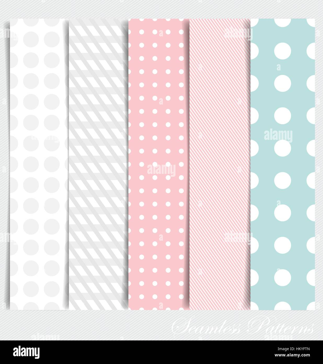 Cute patterns and seamless backgrounds. Ideal for printing onto fabric and paper or scrap booking. - Stock Image
