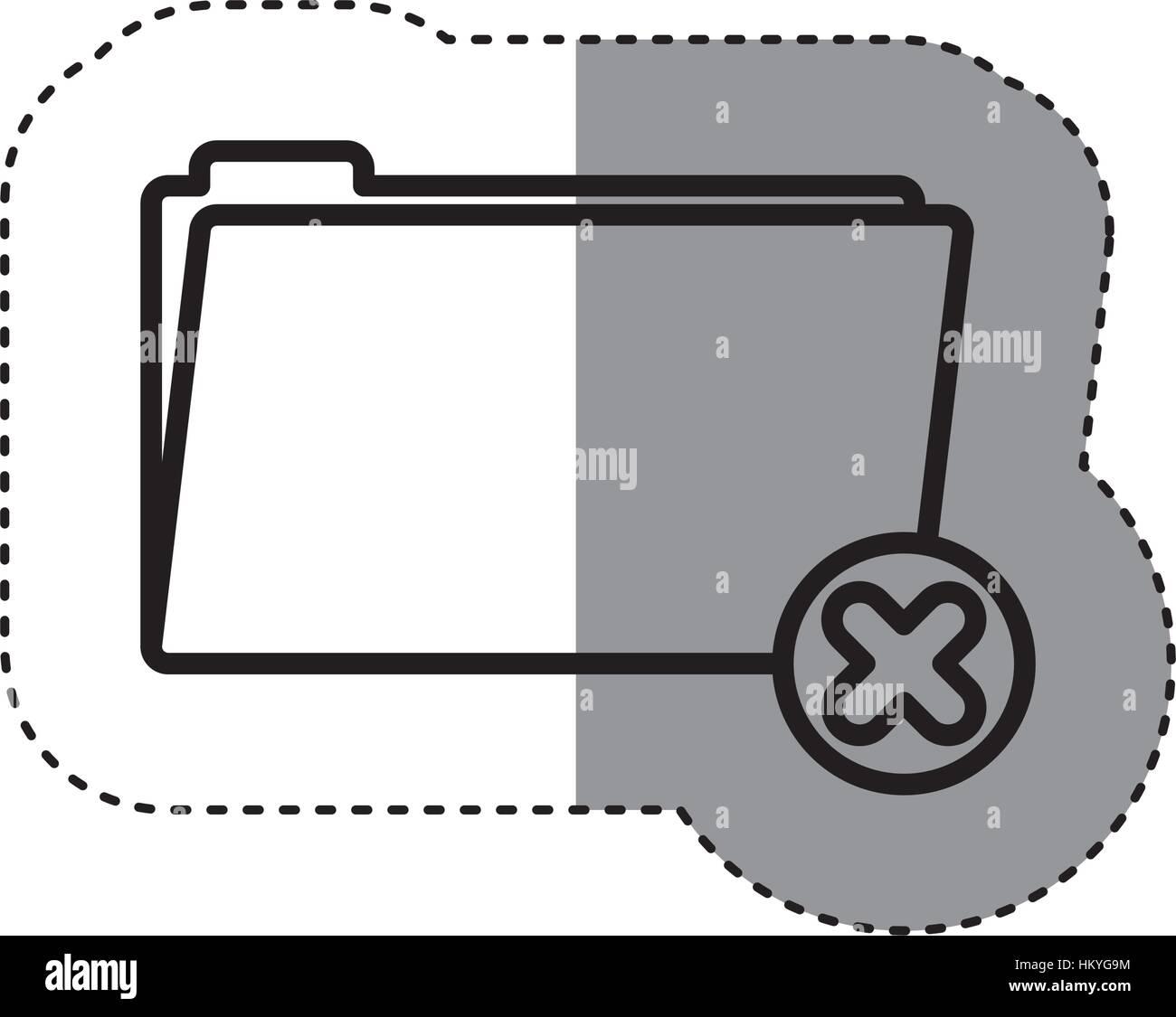 sticker silhouette folder symbol to erased files vector illustration - Stock Vector