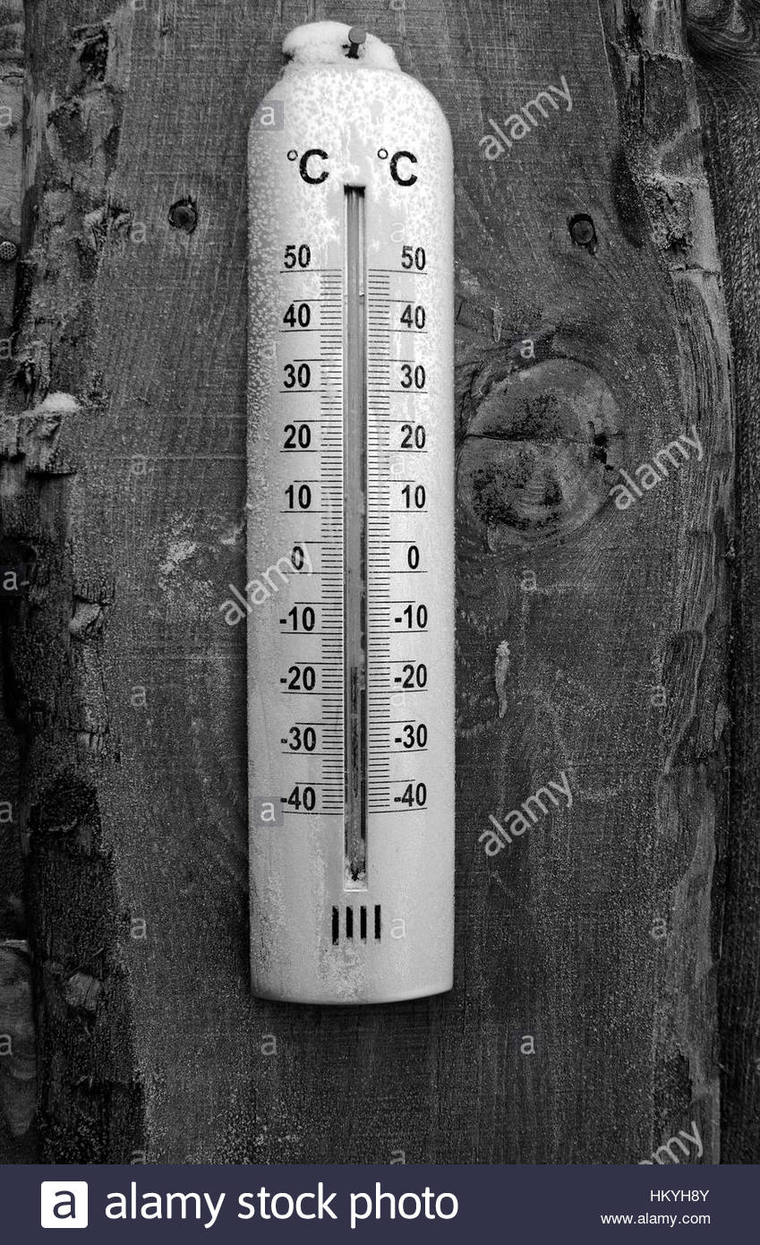 low temperature thermometer black white - Stock Image