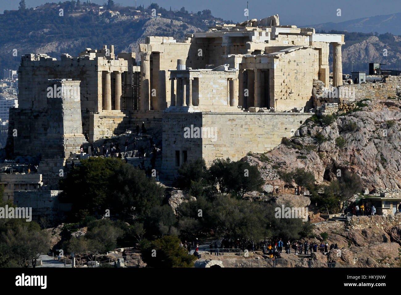 Propylaea of the Athenian Acropolis Stock Photo