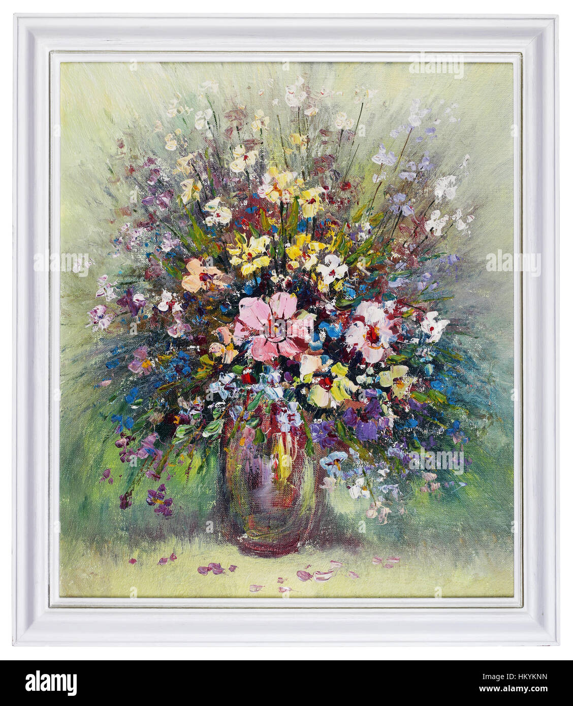 Oil painting beautiful flowers artwork stock photos oil painting wild meadow flowers bouquet in ceramic vase handmade oil art painting in white wooden frame izmirmasajfo