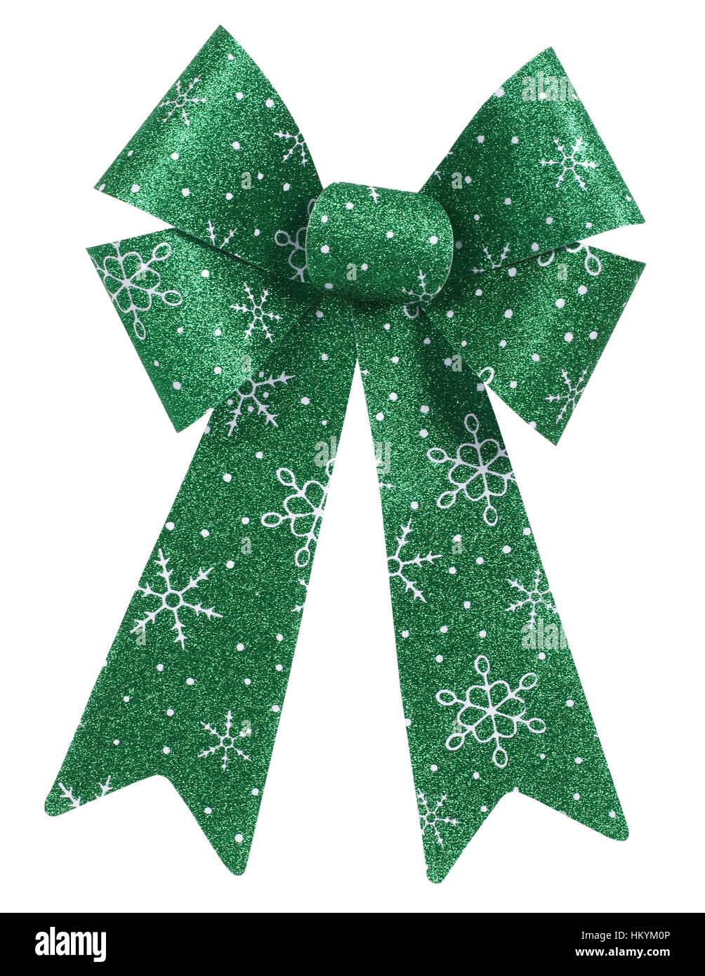 Green Christmas bow - Stock Image