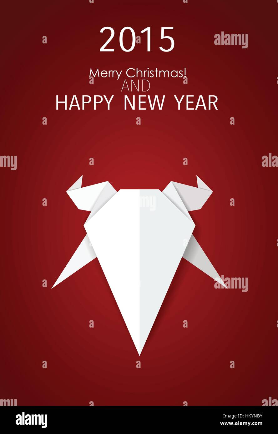 2015 Happy New Year. Year of Goat. Vector illustration. - Stock Image