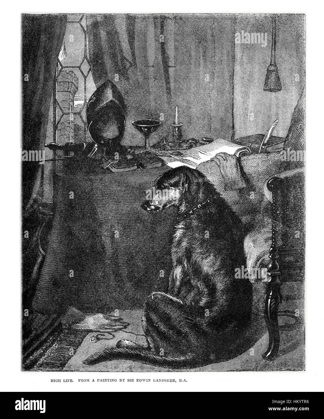 Dog. 19th century Wood Engraving from a painting by Landseer (1802-1873) from 'Popular Natural History', - Stock Image