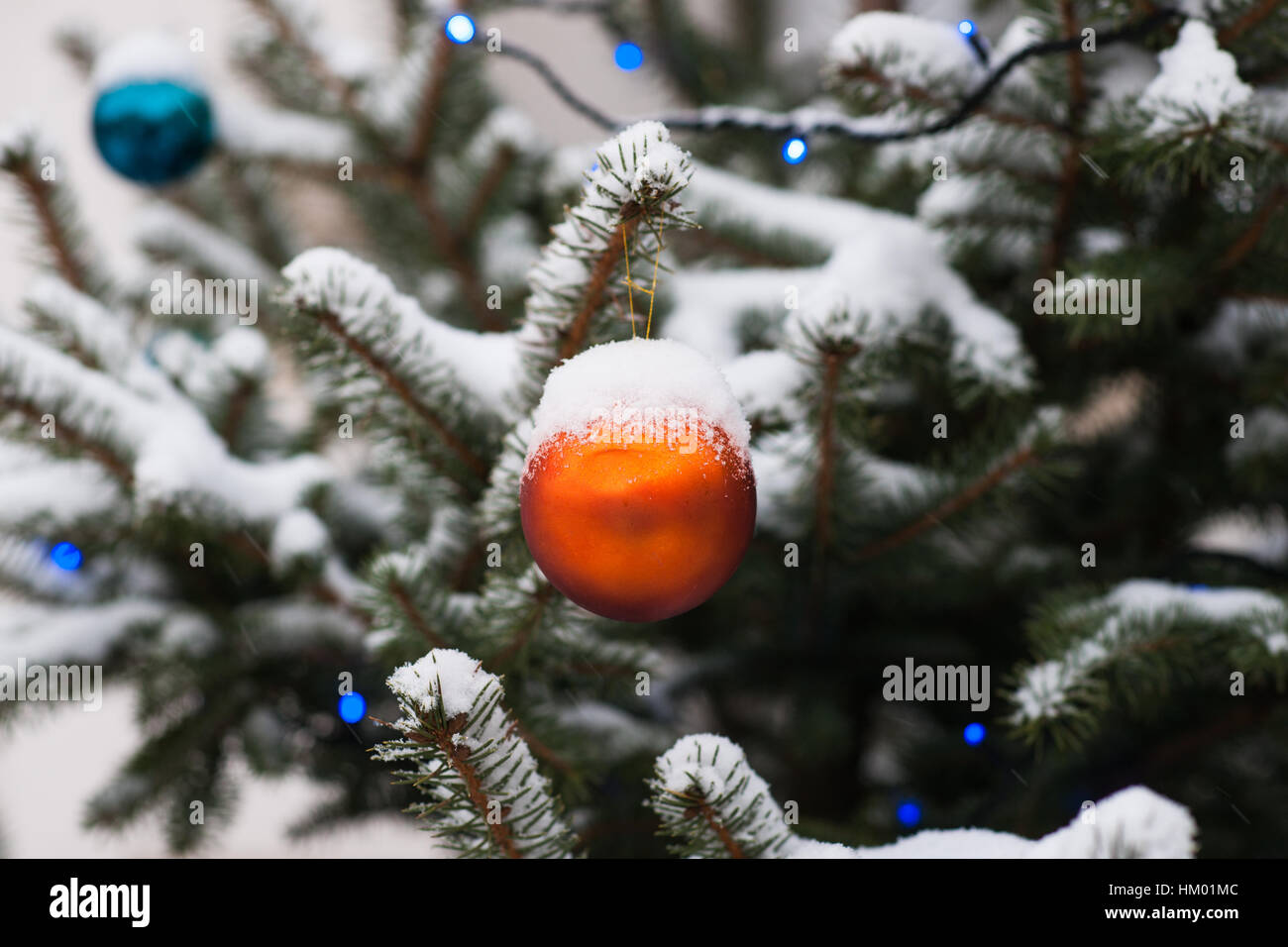 orange blue decoration balls on a snow covered spruce tree blue christmas lights and