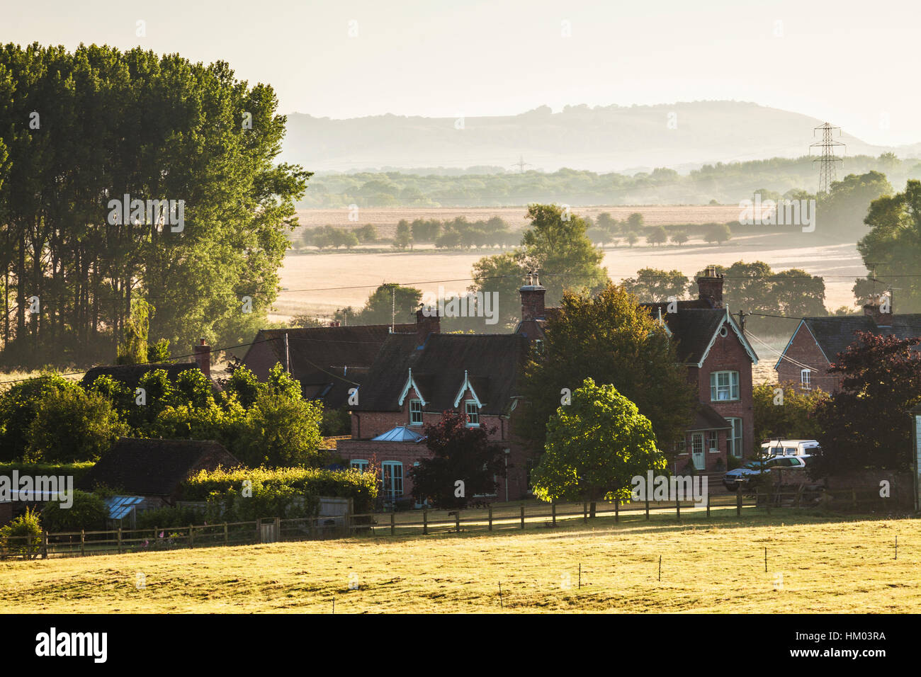 Typical English late summer landscape of rolling hills and farmland in Wiltshire, UK. - Stock Image