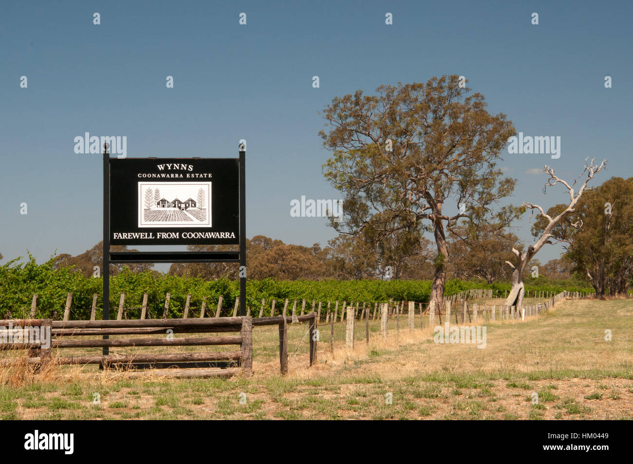 Wynns Coonawarra Estate vineyards sign outside Penola, southeast South Australia - Stock Image