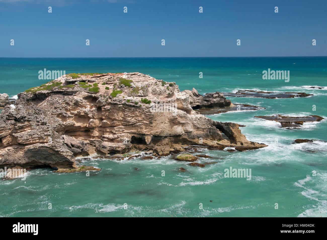 Coastal landforms at Cape Northumberland, Port MacDonnell, southeast South Australia - Stock Image
