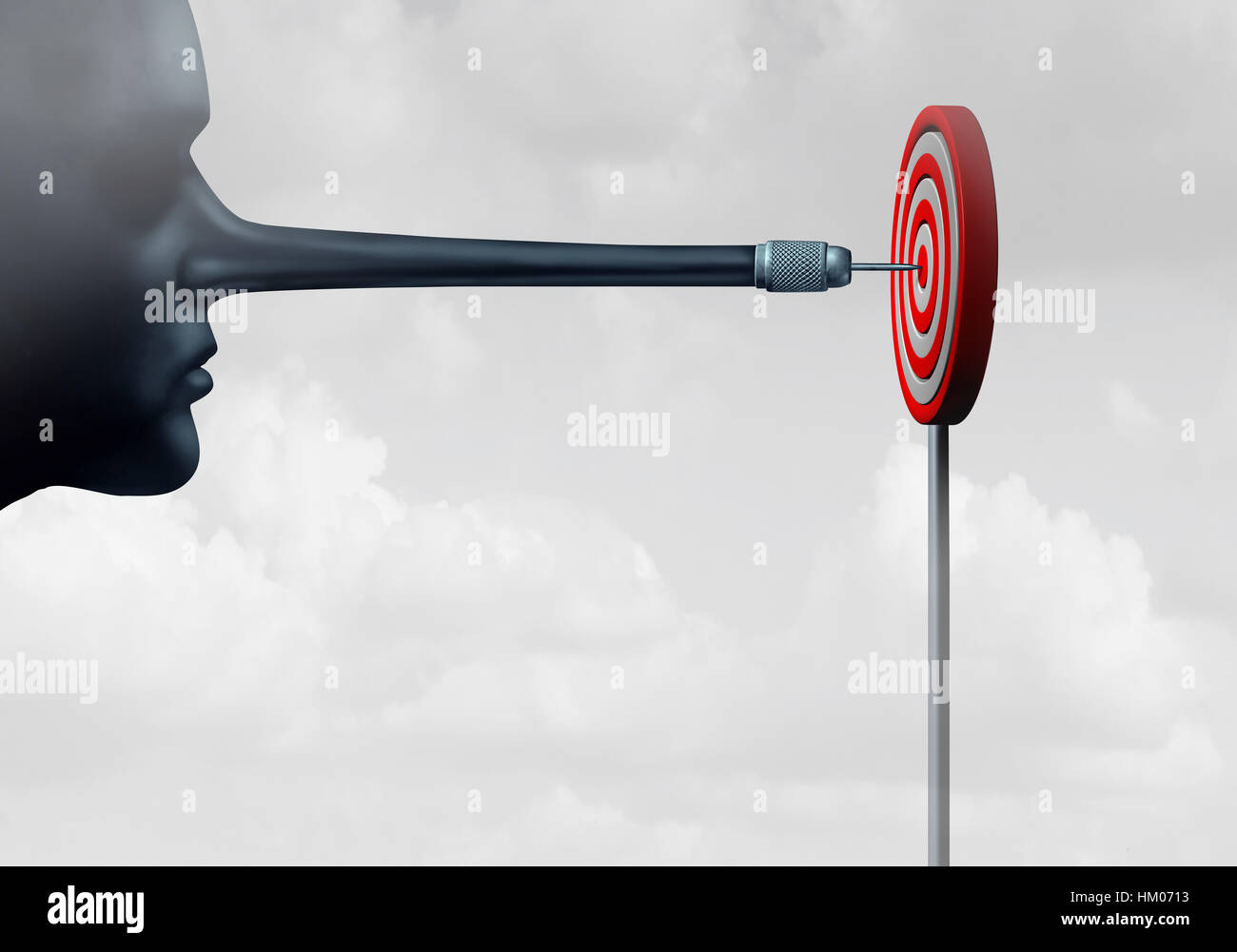 Cheating and cheater concept as a dishonest person with a long liar nose shaped as a dart hitting a target as a - Stock Image