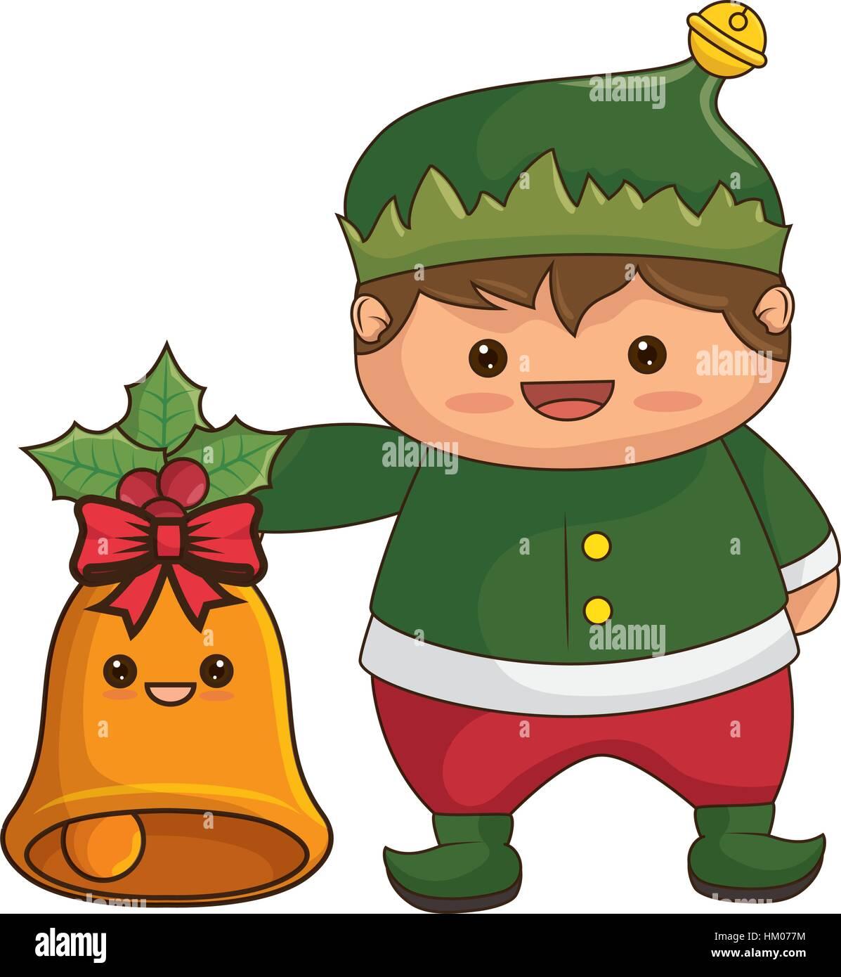 happy merry christmas elf kawaii character vector illustration design stock image - Merry Christmas Elf
