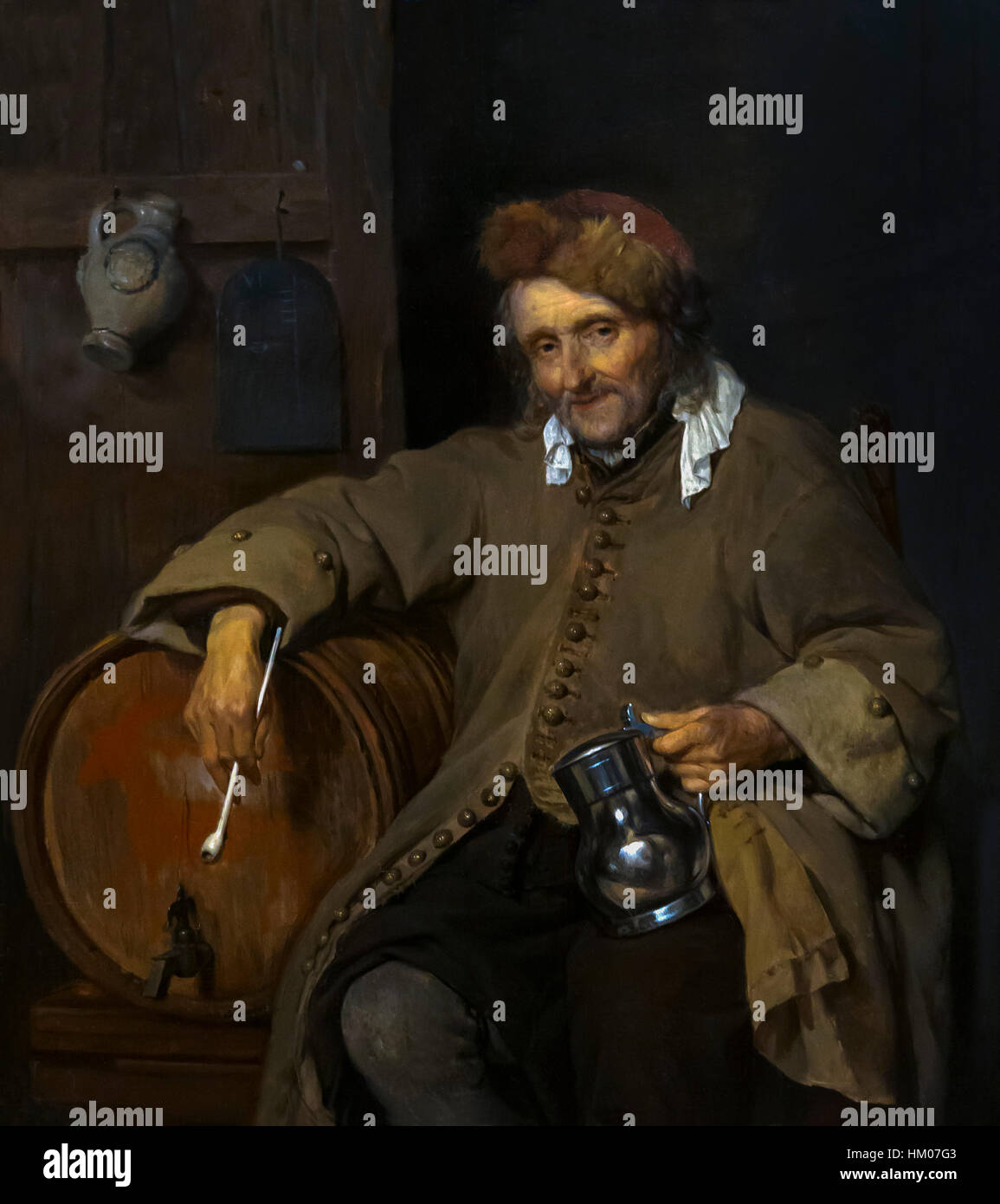 The Old Drinker, by Gabriel Metsu, circa 1661-63, oil on panel, Rijksmuseum, Amsterdam, Netherlands, Europe, Stock Photo