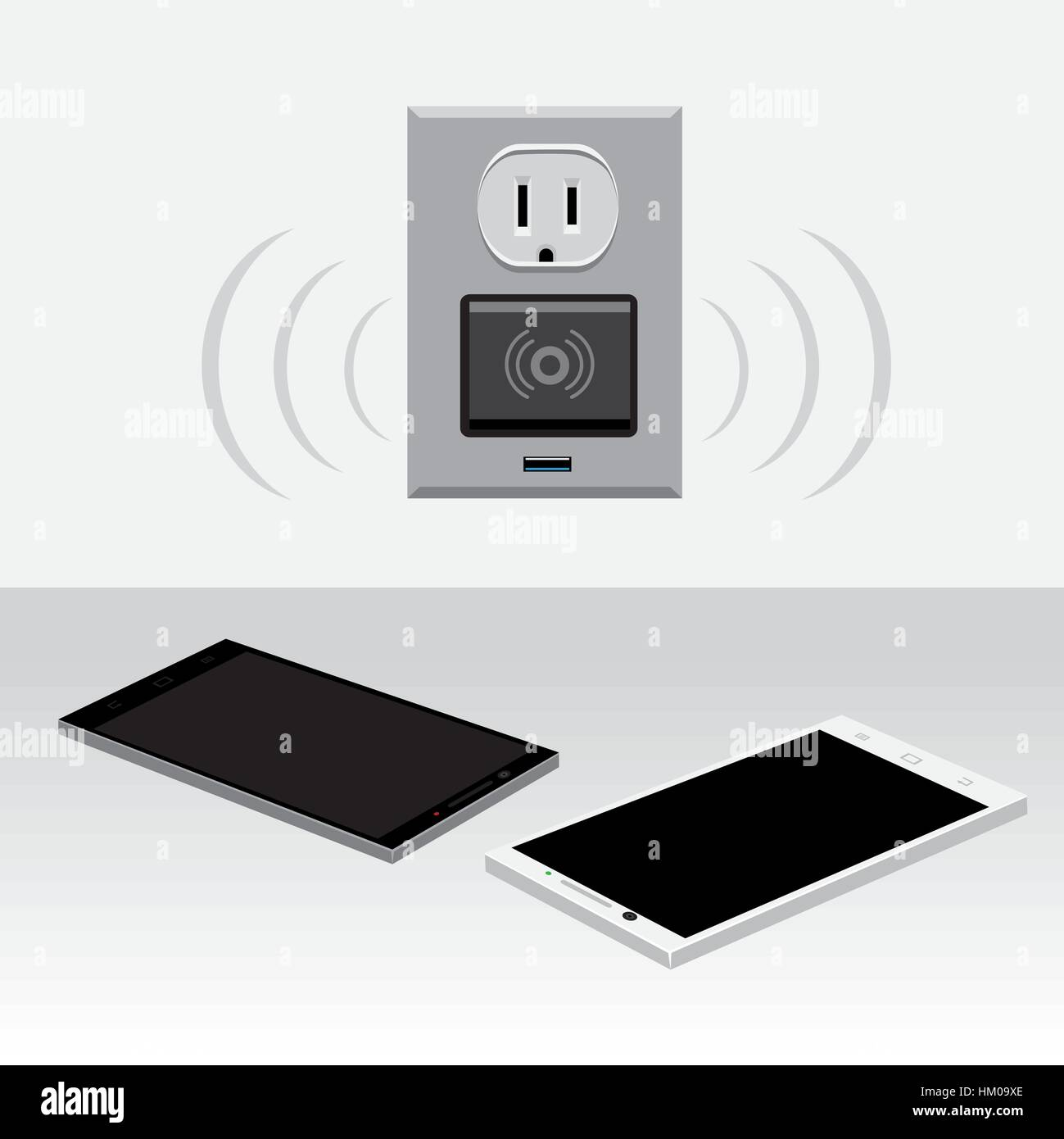 smartphone wireless charge - Stock Vector