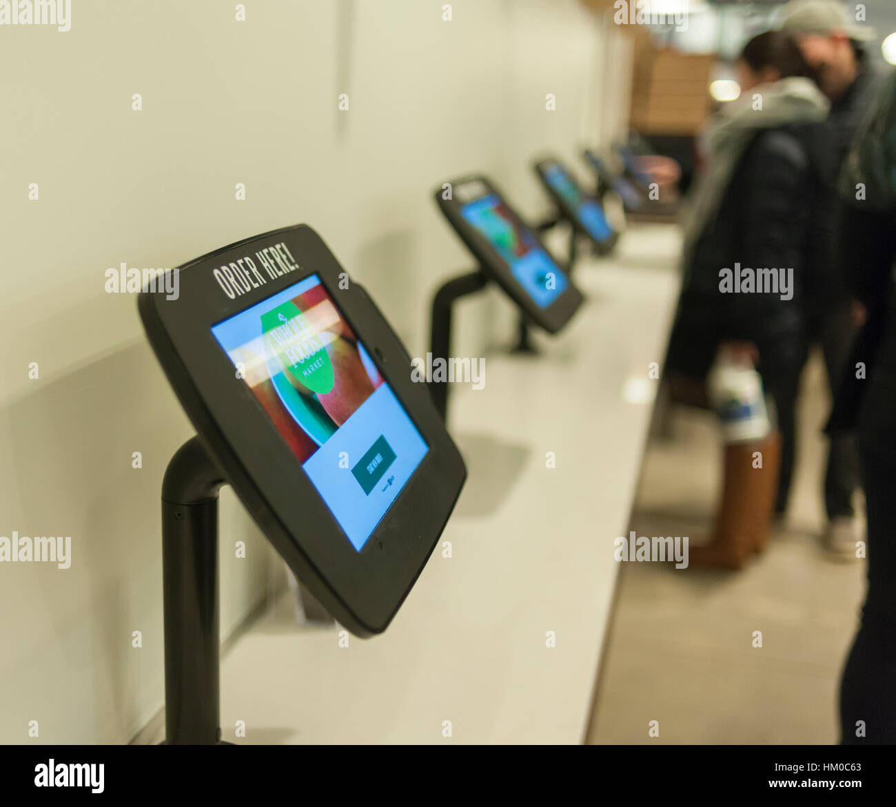 Prepared foods ordering kiosks in the new Whole Foods Market opposite Bryant Park in New York on opening day Saturday, Stock Photo