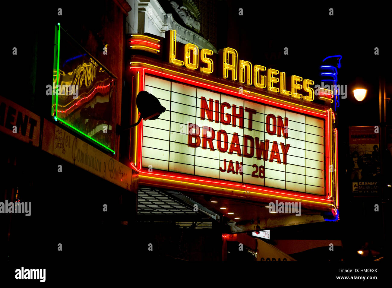 Neon sign marquee for the Los Angeles Theater on Broadway in downtown Los Angeles - Stock Image