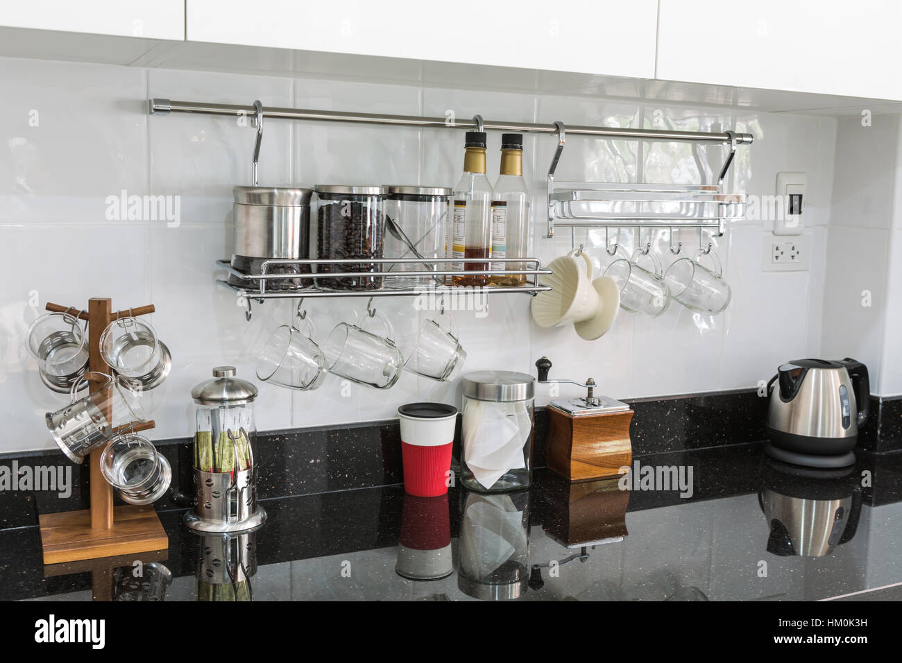Kitchen cabinets with coffee corner in modern home living ...