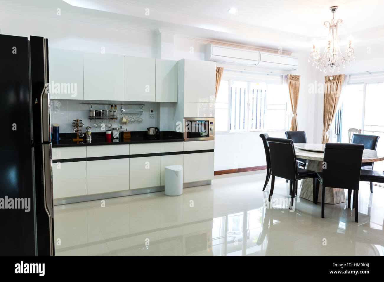 Kitchen cabinets with coffee corner in modern home living room Stock ...
