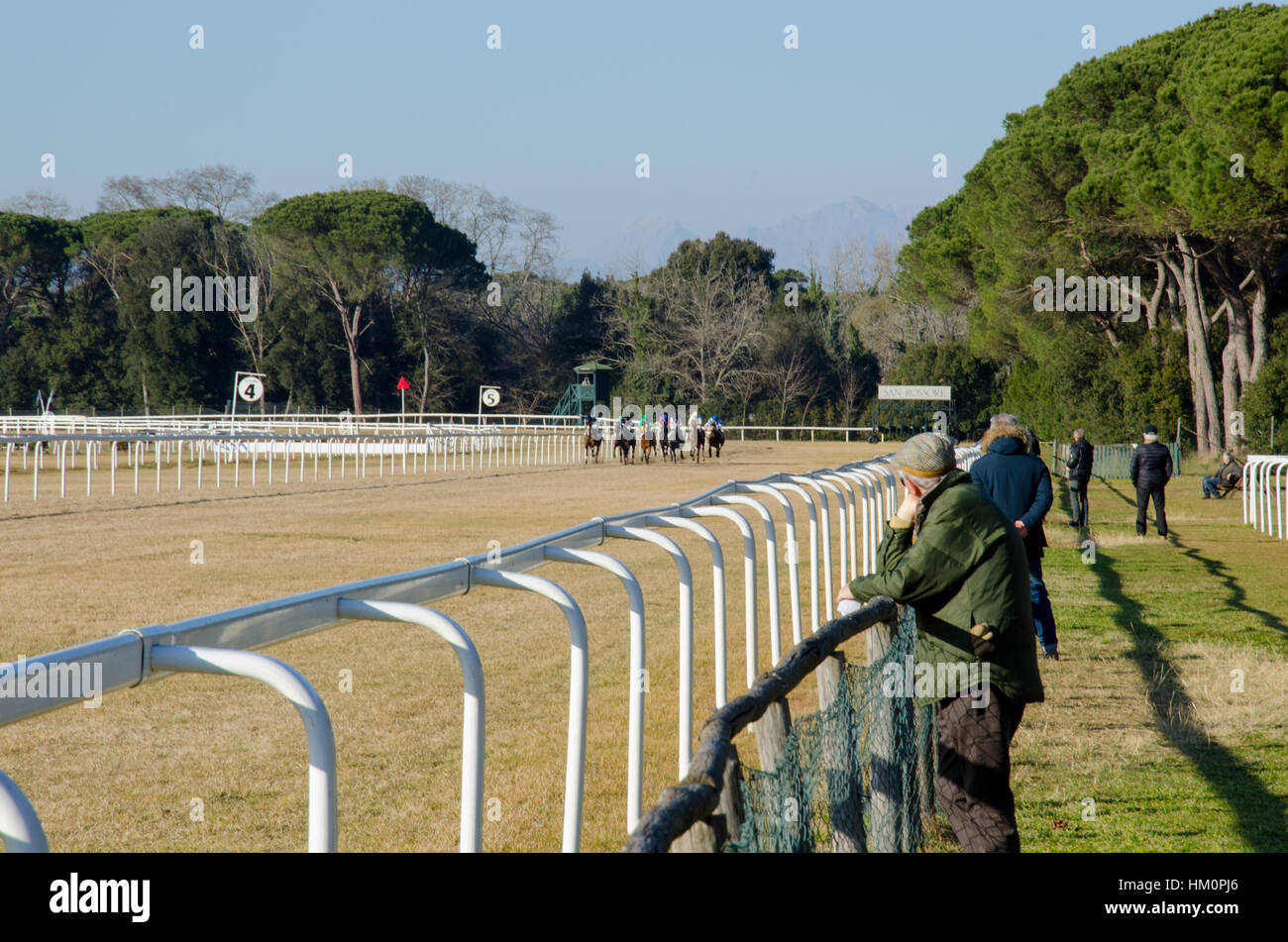 Spectators at  a horse race in Pisa, Italy - Stock Image