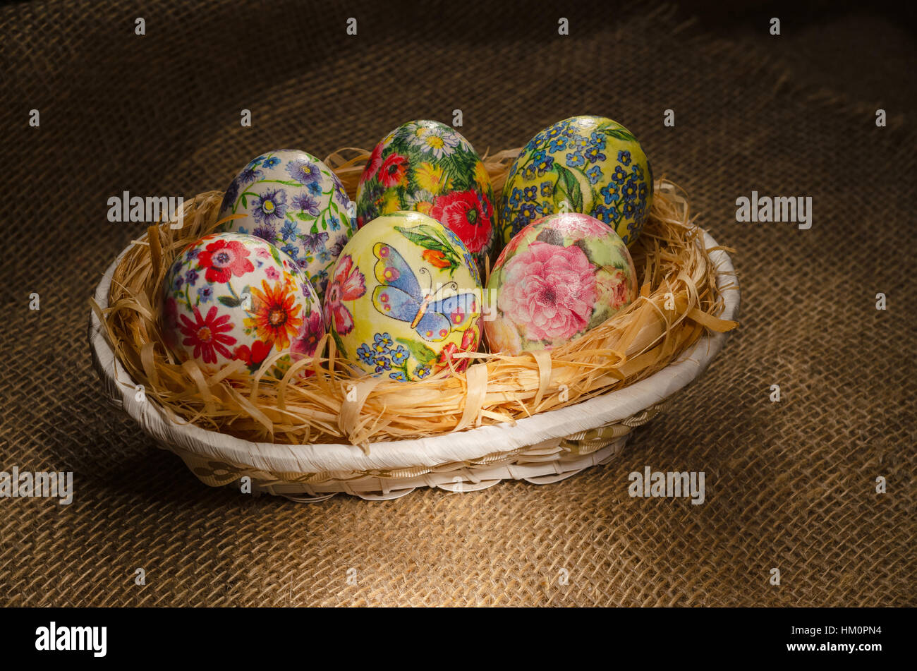Decoupage Easter eggs, handmade Stock Photo