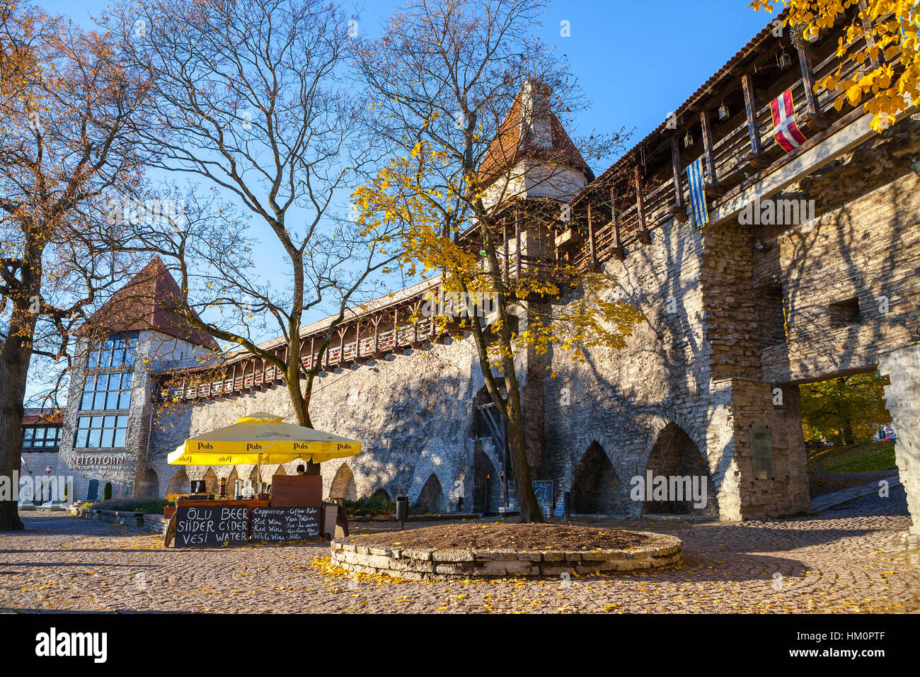 Sunny day in Danish King's Garden with castle walls and towers - Stock Image