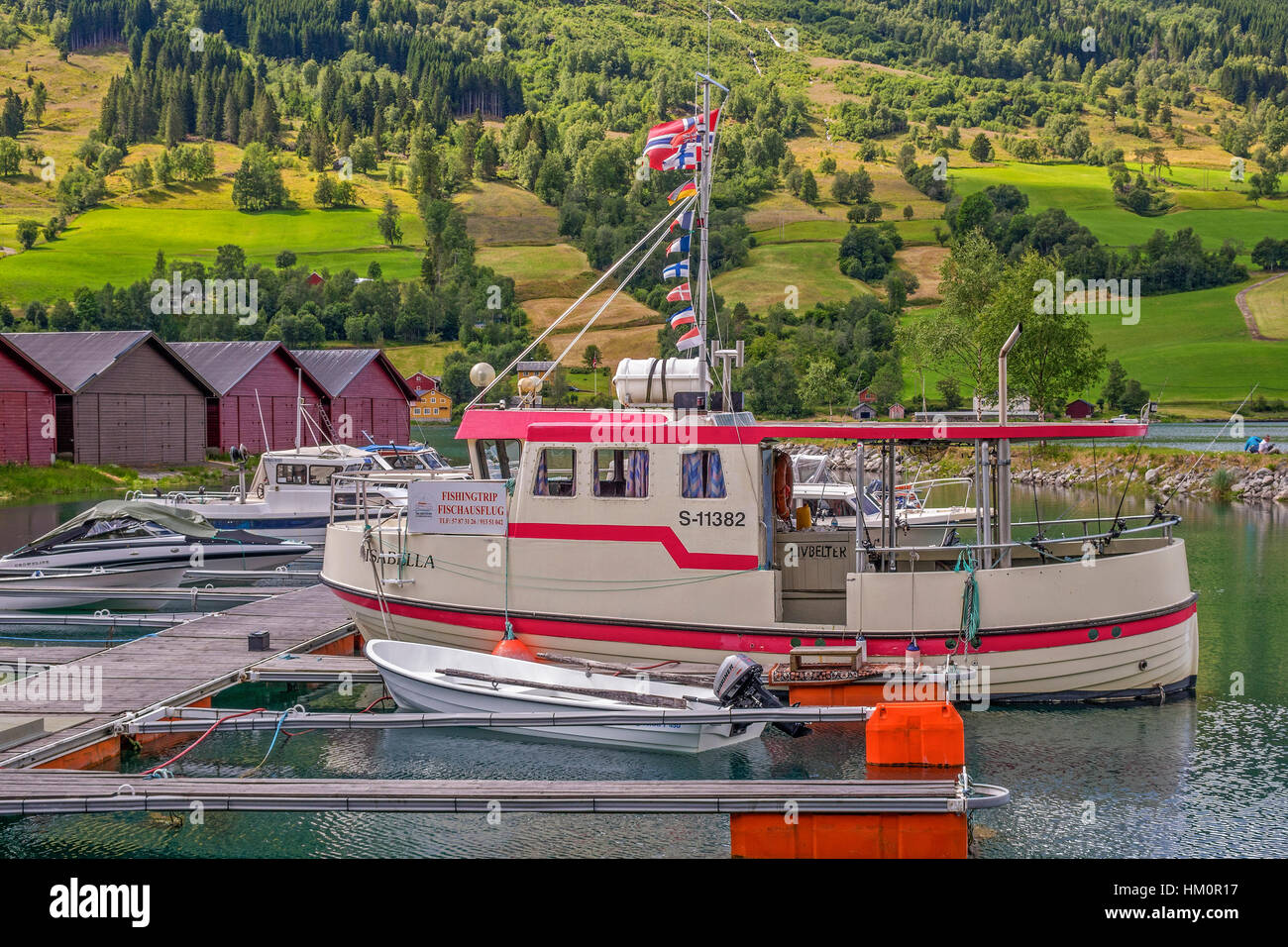 Boats Tied Up At Olden Norway Stock Photo